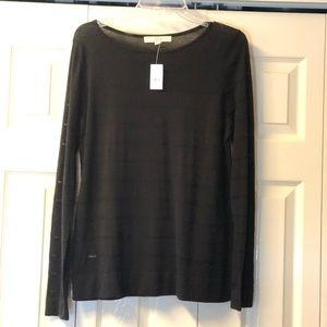 NWT Loft sheer sweater- black SZ L